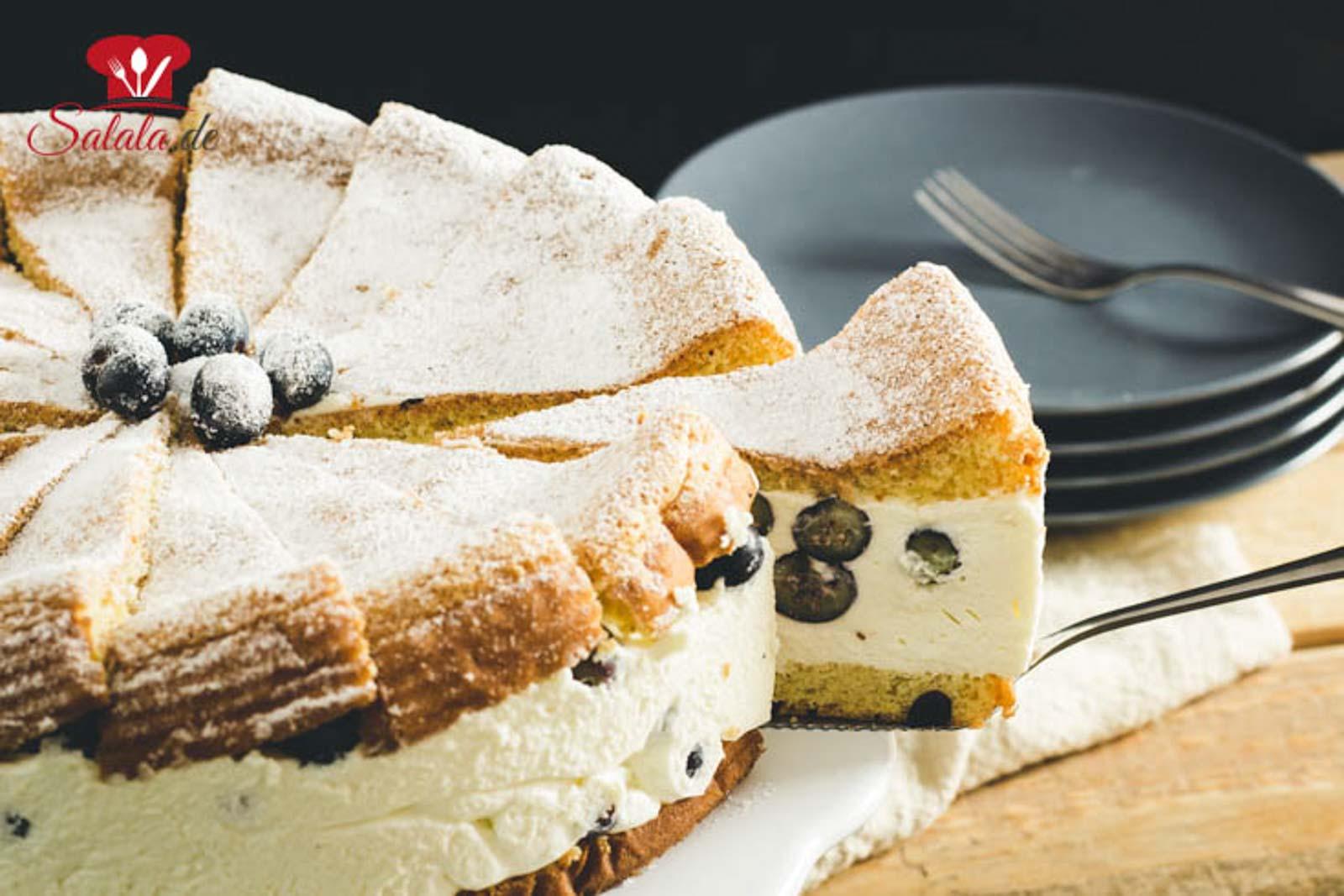 Heidelbeer Käse-Sahne-Torte ohne Zucker