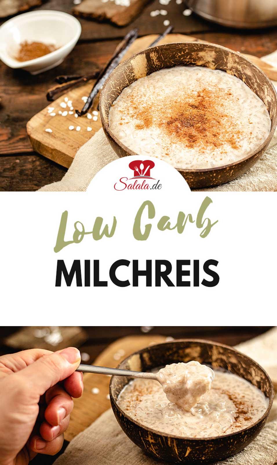 Einfacher Low Carb Milchreis aus Shileo Konjak Reis mit Kokosmilch und Zimt. Für alle die ohne Milchprodukte und ohne Kohlenhydrate leben. Der Milchreis ohne Zucker ist sowohl Low Carb als auch Keto. #LowCarbMilchreis #MilchreisKonjak #MilchreisMitKokosmilch #MilchreisOhneZucker #MilchreisMitZimt