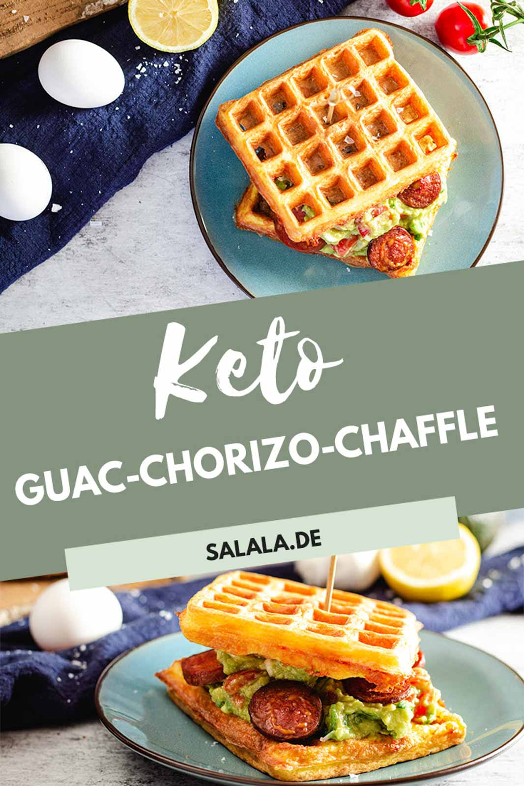 Keto Fingerfood in ganz einfach. Rezept für eine Chaffel gefüllt mit einer Art Guacamole aus leckerer Avocado und Zitrone zusammen mit angebratener Chorizo. Perfekt zum Mitnehmen oder als Low Carb Mittagessen. #Chaffle #KetoChaffle #GefuellteChaffle #LowCarbWaffel #Guacamole