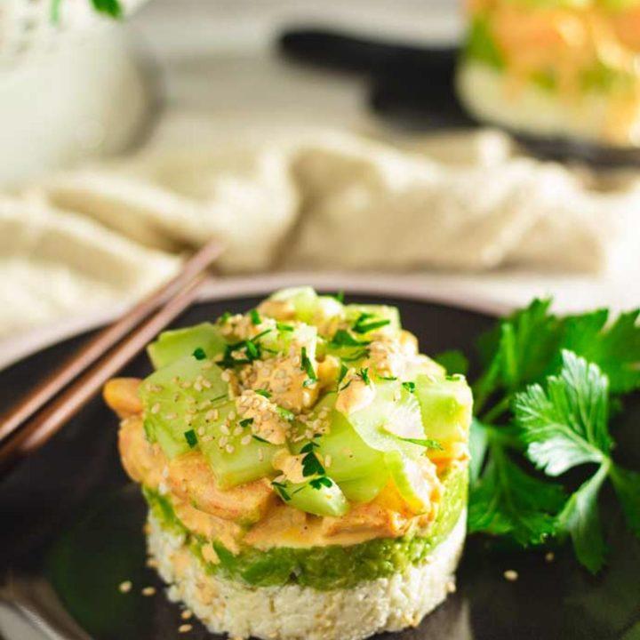 Garnelen Avocado Tuermchen California Shrimp Stack mit Blumenkohlreis I Low Carb Keto Rezept 20200909 Pinterest salala.de Hochkant 4 1