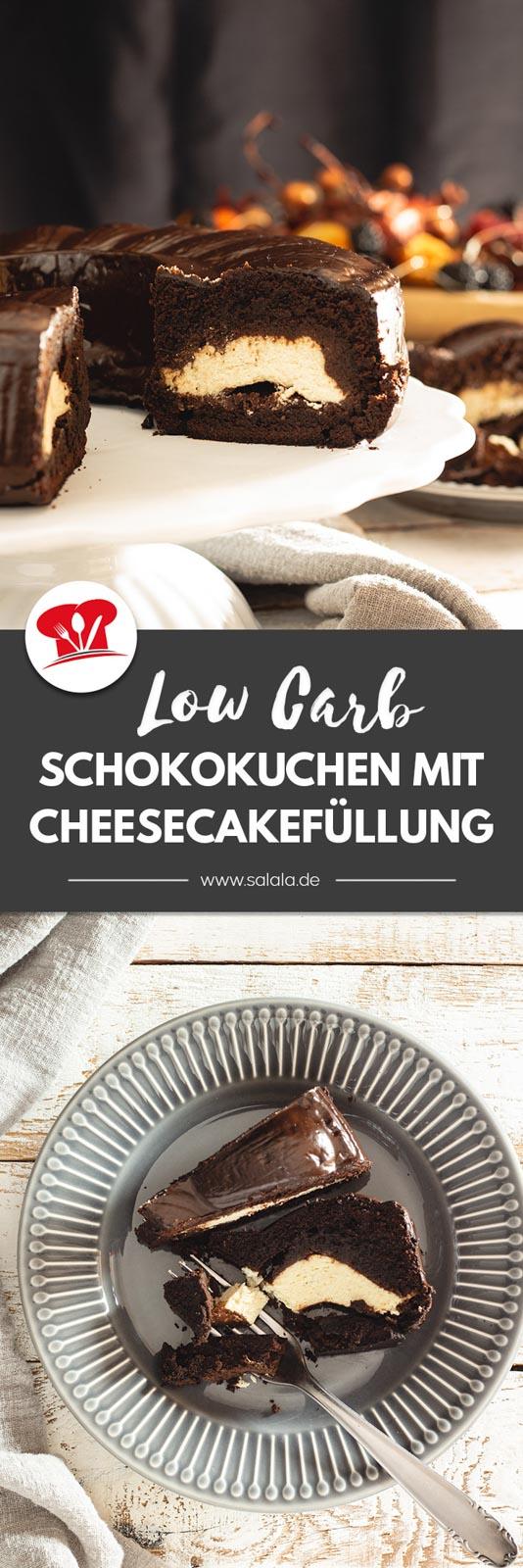 Unglaublich leckerer Schokoladenkuchen mit einer Käsekuchenfüllung. Das Rezept ist ohne Zucker und ohne Weizenmehl, also total Low Carb und sogar Keto. Wenn du zuckerfreie Schokolade verwendest, dann hat ein Stück unter 4 g Kohlenhydrate. Perfekt für den nächsten Sonntags Kaffee. #LowCarbKuchen #KetoKuchen #Cheesecake #KaesekuchenLowCarb #KuchenOhneZucker #KuchenOhneMehl