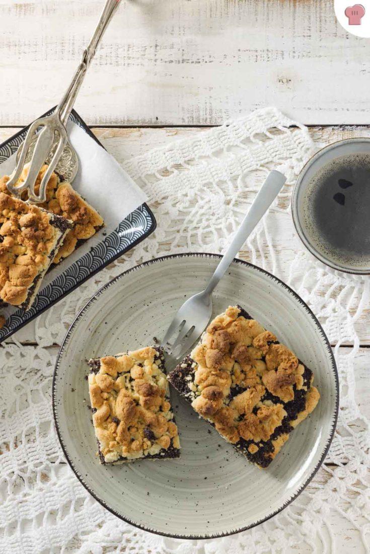 Mohnkuchen mit Streusel ohne Zucker